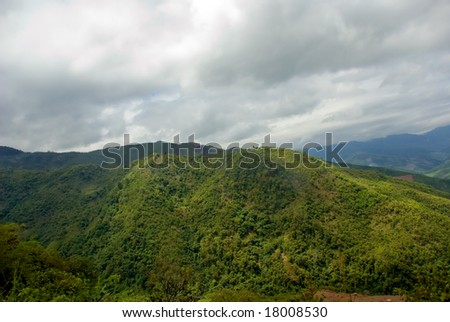 green mountains in laos