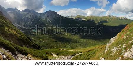 Green moutain with valley, Slovakia, Tatras - stock photo