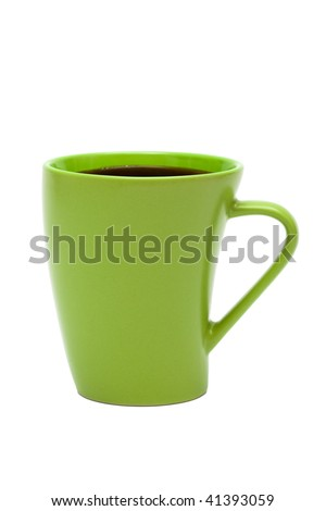 green mug from coffee on a white background