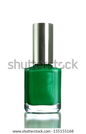 Green nail polish isolated on a white background
