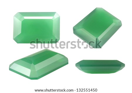 Green Natural Chalcedony, Octagon shape