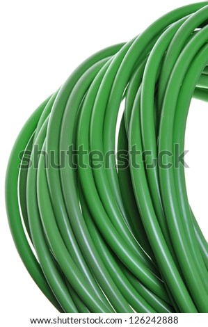 Green network cables, close up, isolated on white background - stock photo