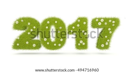 Green 2017 New Year sign isolated on white. 3D illustration
