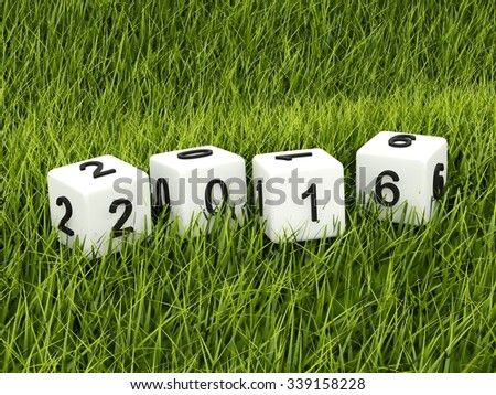Green 2016 New Year sign on grass - stock photo