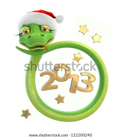 Green New Year snake in red Santa hat at white background - stock photo