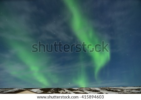 Green Northern lights - Views around Iceland, Northern Europe in winter with snow and ice