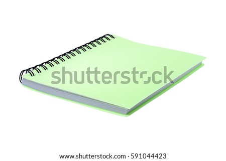 Green notebook isolated on white with clipping path
