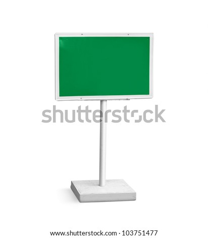 green notice board isolated on white background