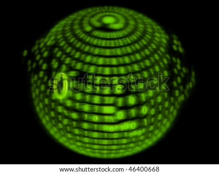 green numbers on a black background