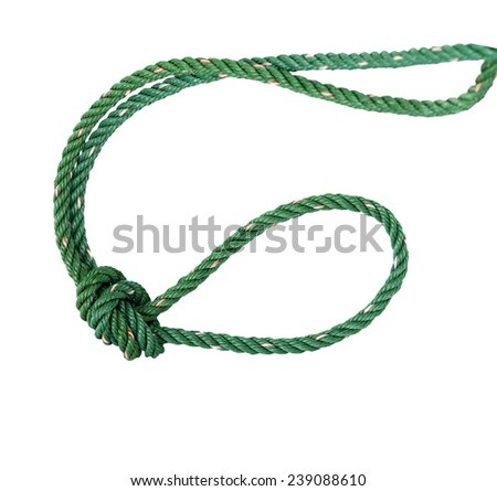 Green nylon rope tied the knot - stock photo