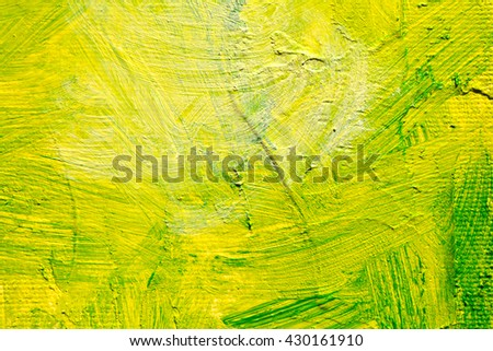 Green oil abstract background painting, green acrylic paint on a palette. Close up. Acrylic painting on canvas. Modern art, contemporary art. - stock photo