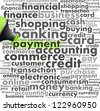 green oil based marker with payment info-text graphics and arrangement concept (word cloud) - stock photo