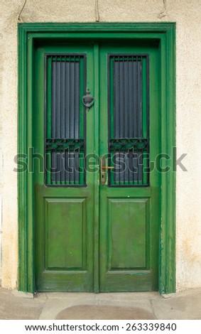 Green old door. - stock photo