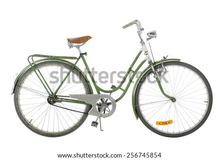 Green Old fashioned bicycle isolated on white background - stock photo