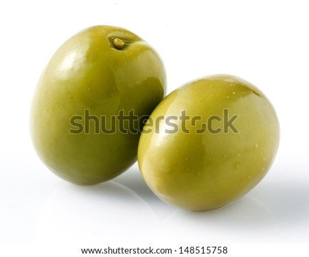 Green olive isolated - stock photo