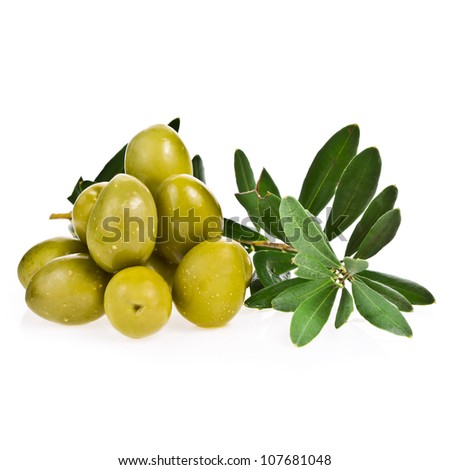 green olives and a branch with leaves isolated on white background - stock photo