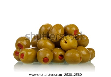 Green olives isolated on white background - stock photo