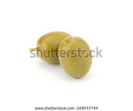 Green olives isolated on white background closeup - stock photo
