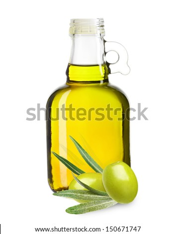 Green olives with leaves and olive oil  isolated on white