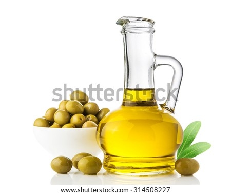 Green olives with leaves & oil isolated on a white