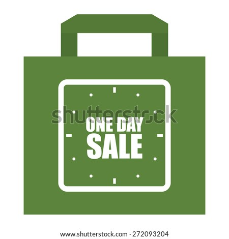 Green One Day Sale Shopping Bag, Label, Sign or Icon Isolated on White Background - stock photo