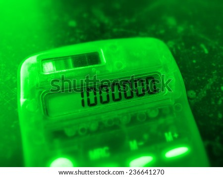 green one million number on electronic calculator - stock photo