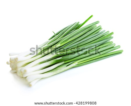 Green onion close-up isolated on a white background. Food concept. - stock photo
