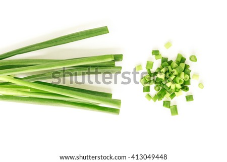 green onion cut chives pile nature food on white background - stock photo