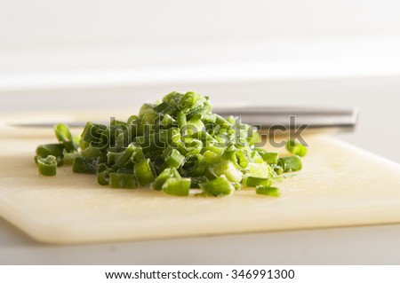 green onion frozen - stock photo
