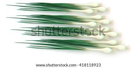 Green onion on a white background. 3D illustration. Anaglyph. View with red/cyan glasses to see in 3D.
