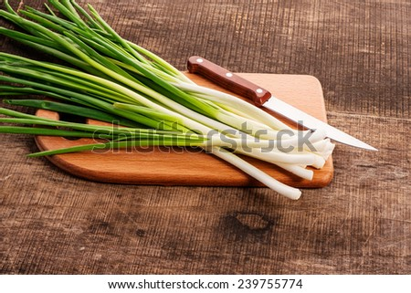 Green onions, fresh with dew - stock photo