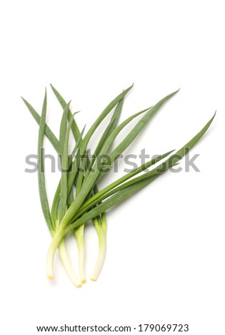 green onions on white
