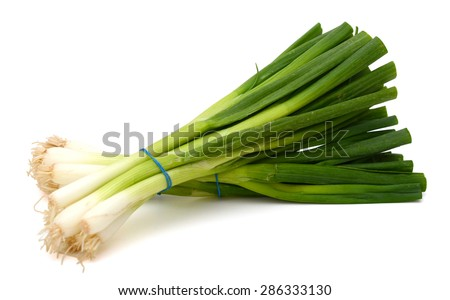 green onions on white background