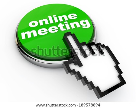Green online meeting button with pointing hand cursor - stock photo
