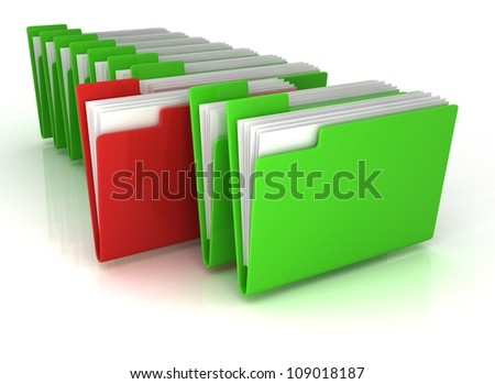 green open folders and one red with documents