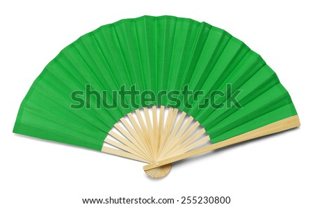 Green Open Hand Fan Isolated on a White Background. - stock photo