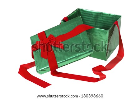 Green opened Christmas present box with red bow on white  - stock photo