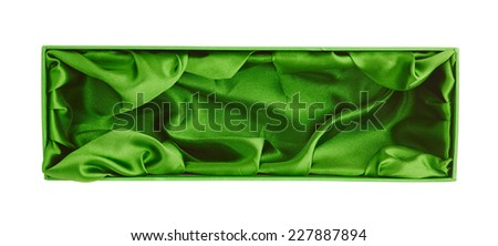 Green opened tall gift box with the velvet cloth inside, isolated over the white background - stock photo