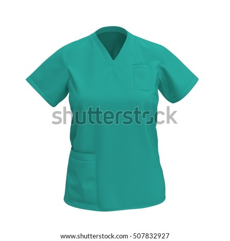 Green operation T-shirt isolated on white. Front view. 3D illustration