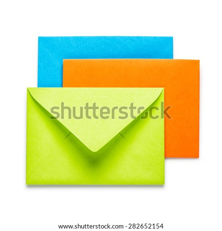 Green, orange and blue envelopes on white background, clipping path included - stock photo