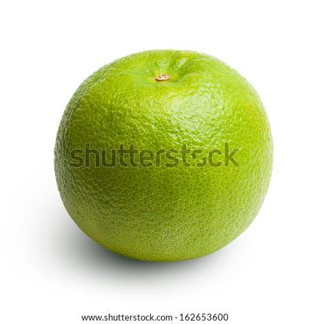 Green orange fruit isolated on white background - stock photo