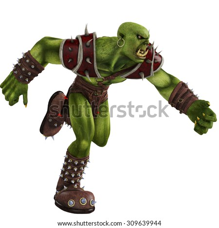 green orc running - stock photo