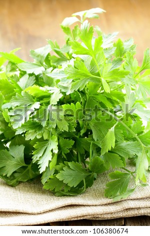 green, organic parsley  on wooden table - stock photo