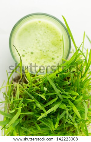 Green Organic Wheat Grass Juice ready to drink - stock photo