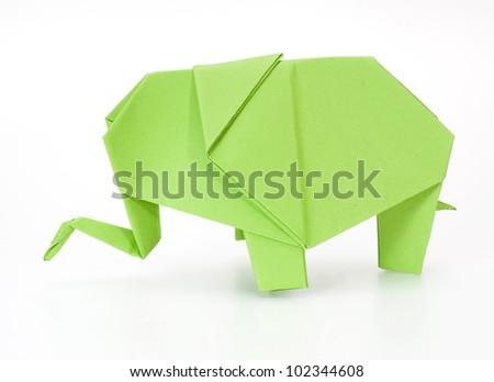green origami elephant - stock photo
