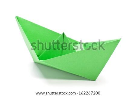 Green origami ship - stock photo