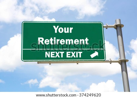 Green overhead road sign with a Your Retirement Next Exit concept against a partly cloudy sky background. - stock photo