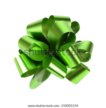 Green packaging band isolated on white - stock photo