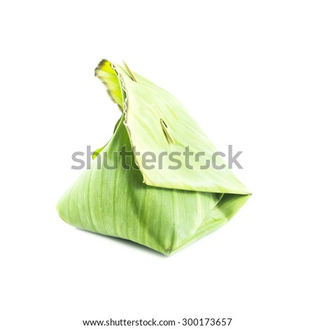 Green packaging with banana leaf front view on white background