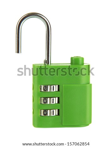 Green padlock isolated on white - stock photo